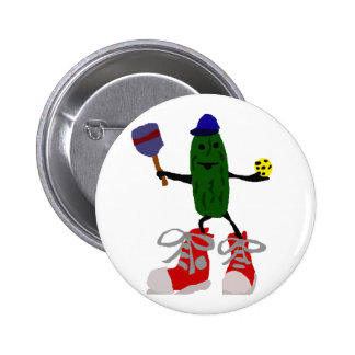 Funny Pickle Holding Pickleball and Paddle Button