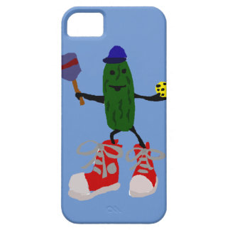 Funny Pickle Holding Pickleball and Paddle iPhone SE/5/5s Case