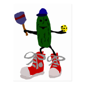 Funny Pickle Holding Pickleball and Paddle Postcard