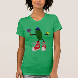 Funny Pickle Holding Pickleball and Paddle T Shirt