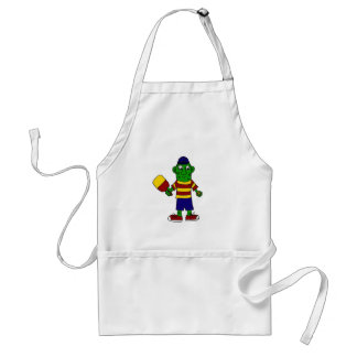 Funny Pickle Holding Pickleball Paddle and Ball Adult Apron