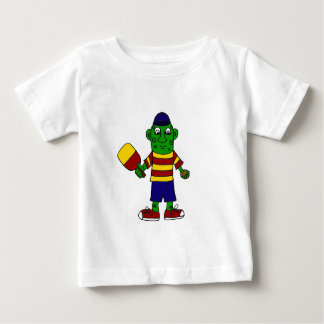 Funny Pickle Holding Pickleball Paddle and Ball Baby T-Shirt