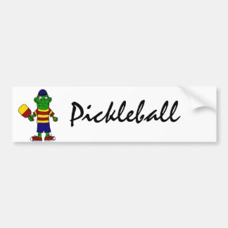 Funny Pickle Holding Pickleball Paddle and Ball Bumper Sticker