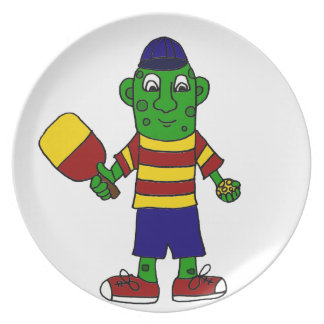 Funny Pickle Holding Pickleball Paddle and Ball Dinner Plate