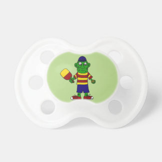 Funny Pickle Holding Pickleball Paddle and Ball BooginHead Pacifier