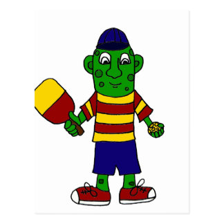 Funny Pickle Holding Pickleball Paddle and Ball Postcard