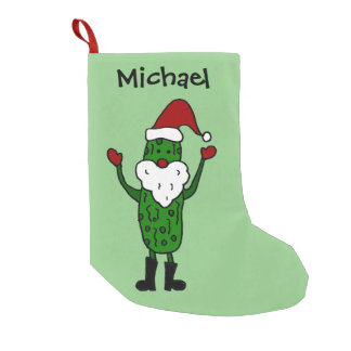 Funny Pickle in Santa Hat Christmas Stocking