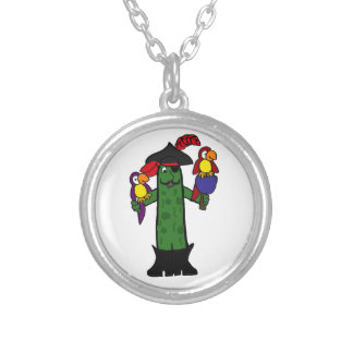 Funny Pickle Pirate with Parrots Pendant