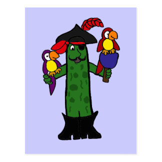 Funny Pickle Pirate with Parrots Postcard