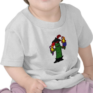 Funny Pickle Pirate with Parrots T Shirts