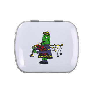 Funny Pickle Playing Bagpipes Jelly Belly Tin