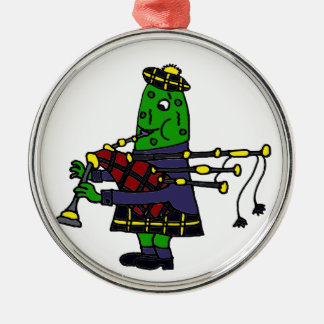 Funny Pickle Playing Bagpipes Original Metal Ornament