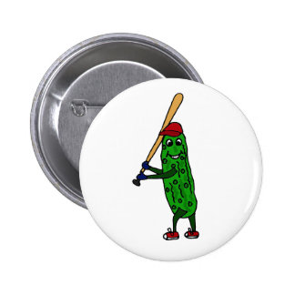 Funny Pickle Playing Baseball Cartoon Pinback Buttons
