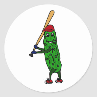 Funny Pickle Playing Baseball Cartoon Classic Round Sticker