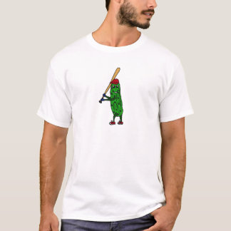 Funny Pickle Playing Baseball Cartoon T-Shirt