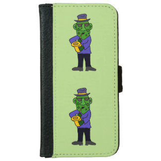 Funny Pickle Playing Jazz on Saxophone Wallet Phone Case For iPhone 6/6s