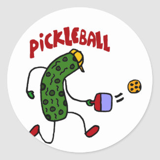 Funny Pickle Playing Pickleball Action Design Classic Round Sticker