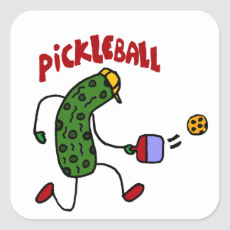 Funny Pickle Playing Pickleball Action Design Square Sticker