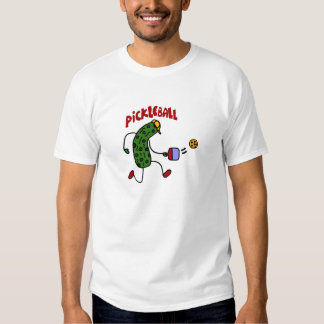 Funny Pickle Playing Pickleball Action Design T-Shirt
