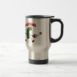 Funny Pickle Playing Pickleball Action Design Travel Mug