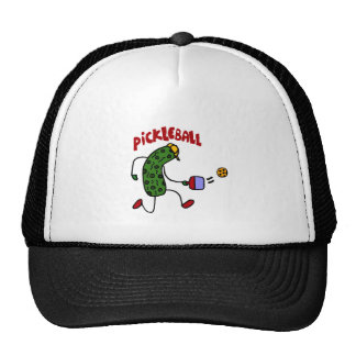 Funny Pickle Playing Pickleball Action Design Trucker Hat