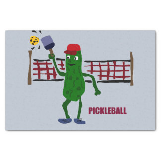 """Funny Pickle Playing Pickleball Art Design 10"""" X 15"""" Tissue Paper"""
