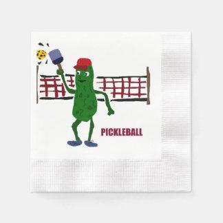Funny Pickle Playing Pickleball Art Design Napkin