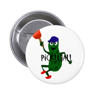 Funny Pickle Playing Pickleball Button
