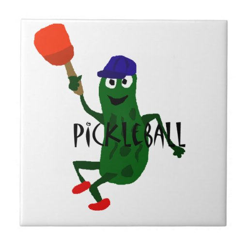 Funny Pickle Playing Pickleball Ceramic Tile Zazzle
