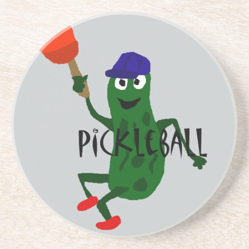 Funny Pickle Playing Pickleball Drink Coasters Zazzle