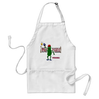 Funny Pickle Playing Pickleball with Net Art Adult Apron