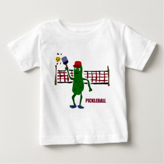 Funny Pickle Playing Pickleball with Net Art Baby T-Shirt