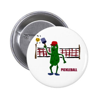 Funny Pickle Playing Pickleball with Net Art Button