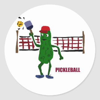 Funny Pickle Playing Pickleball with Net Art Classic Round Sticker