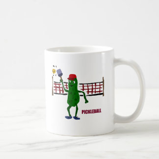 Funny Pickle Playing Pickleball with Net Art Coffee Mug