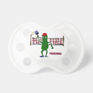 Funny Pickle Playing Pickleball with Net Art BooginHead Pacifier