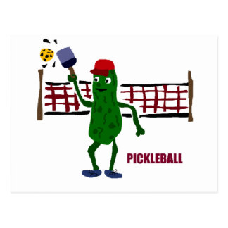 Funny Pickle Playing Pickleball with Net Art Postcard