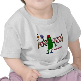 Funny Pickle Playing Pickleball with Net Art Shirt
