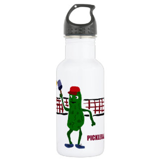 Funny Pickle Playing Pickleball with Net Art Water Bottle