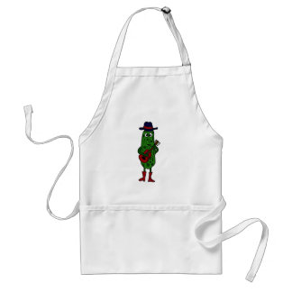 Funny Pickle Playing Red Guitar Adult Apron