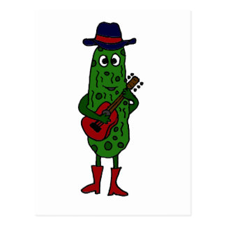 Funny Pickle Playing Red Guitar Postcard