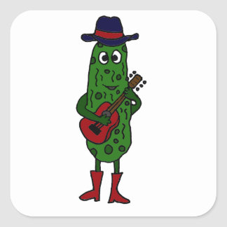 Funny Pickle Playing Red Guitar Square Sticker