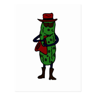 Funny Pickle Playing Saxophone Post Cards