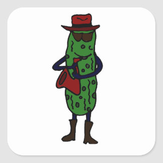 Funny Pickle Playing Saxophone Square Sticker