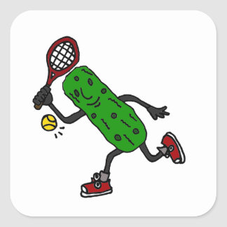 Funny Pickle Playing Tennis Art Square Sticker
