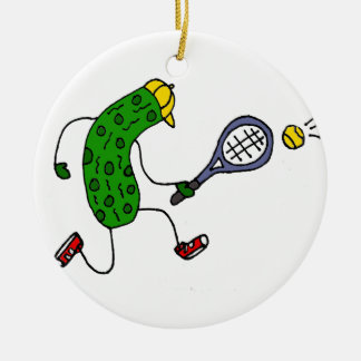 Funny Pickle Playing Tennis Cartoon Ceramic Ornament