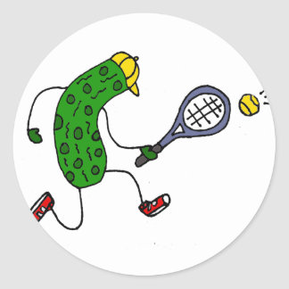 Funny Pickle Playing Tennis Cartoon Classic Round Sticker