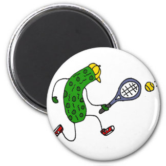 Funny Pickle Playing Tennis Cartoon Magnet