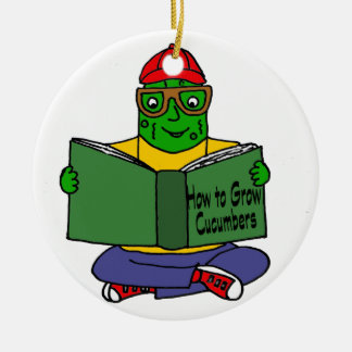 Funny Pickle Reading How to Grow Cucumbers Ceramic Ornament