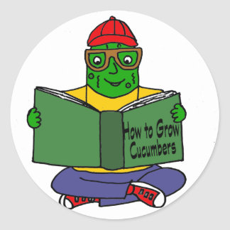 Funny Pickle Reading How to Grow Cucumbers Classic Round Sticker